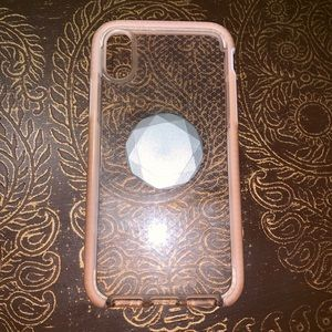 Tech 21 iPhone X Pink Case with Popsocket
